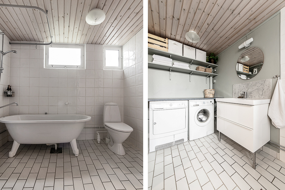 Badrum och tvättavdelning på nedre plan