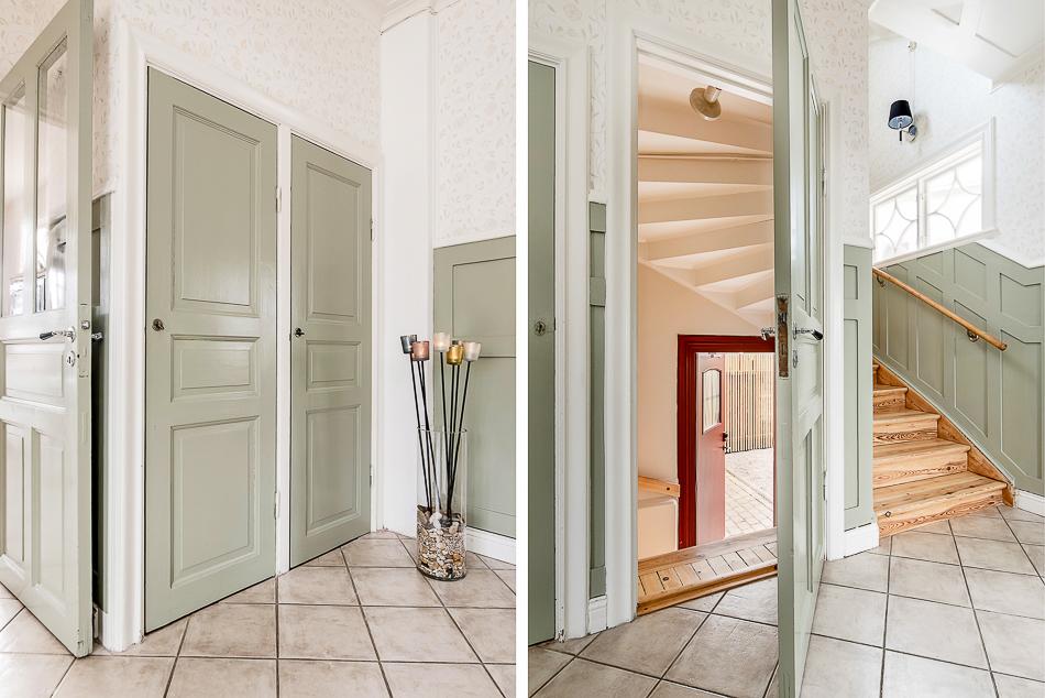 Inre hall på entréplan med fina spegeldörrar