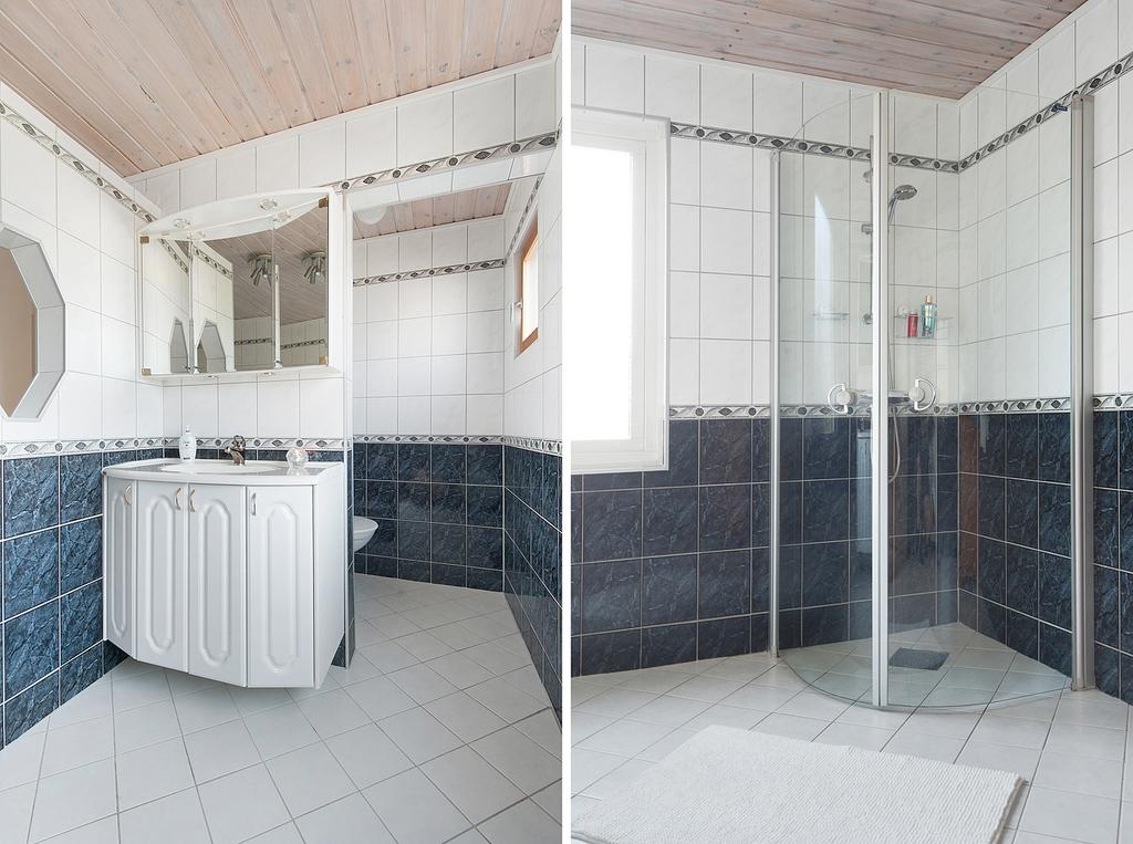 Helkaklat och rymligt badrum på övre plan