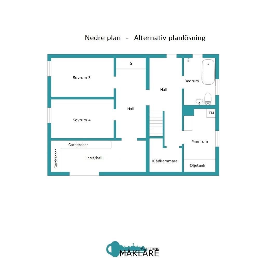 Nedre plan-Alternativ planlösning