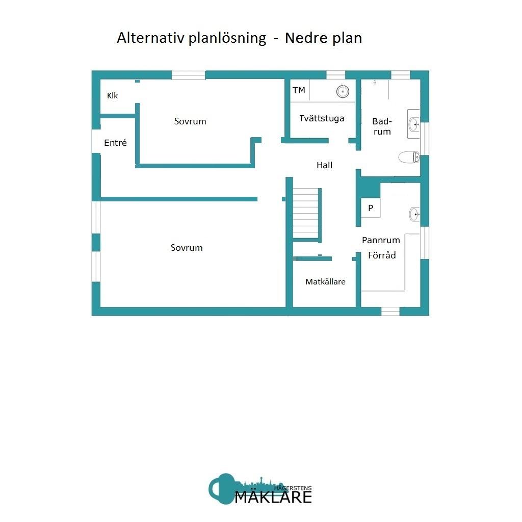 Alternativ planlösning - Nedre plan