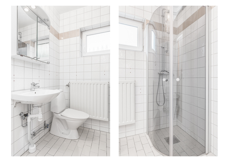 Helkaklat badrum med duschhörna